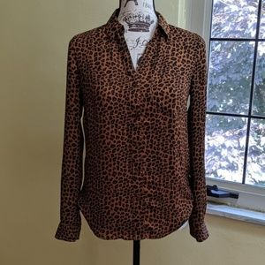 The Limited Leopard Print Button Down Blouse